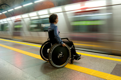 Person with disability waits the train at metro station in Rio de Janeiro - Brazil